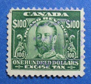 1915 $100.  00 Canada Excise Tax Revenue Vd Fx20 B 20 Cs15187 photo