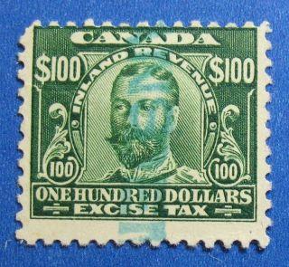 1915 $100.  00 Canada Excise Tax Revenue Vd Fx20 B 20 Cs15189 photo