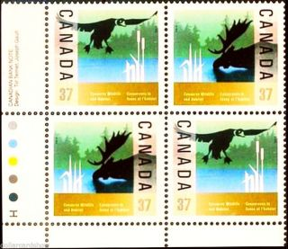 Canada 1988 Canadian Wildlife And Habitat Face $1.  48 Corner Plate Block photo