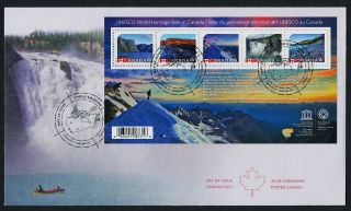 Canada Issue S/s On Fdc - Unseco World Heritage Sites photo