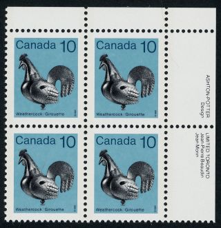 Canada 921 Tr Plate Block Weathercock photo
