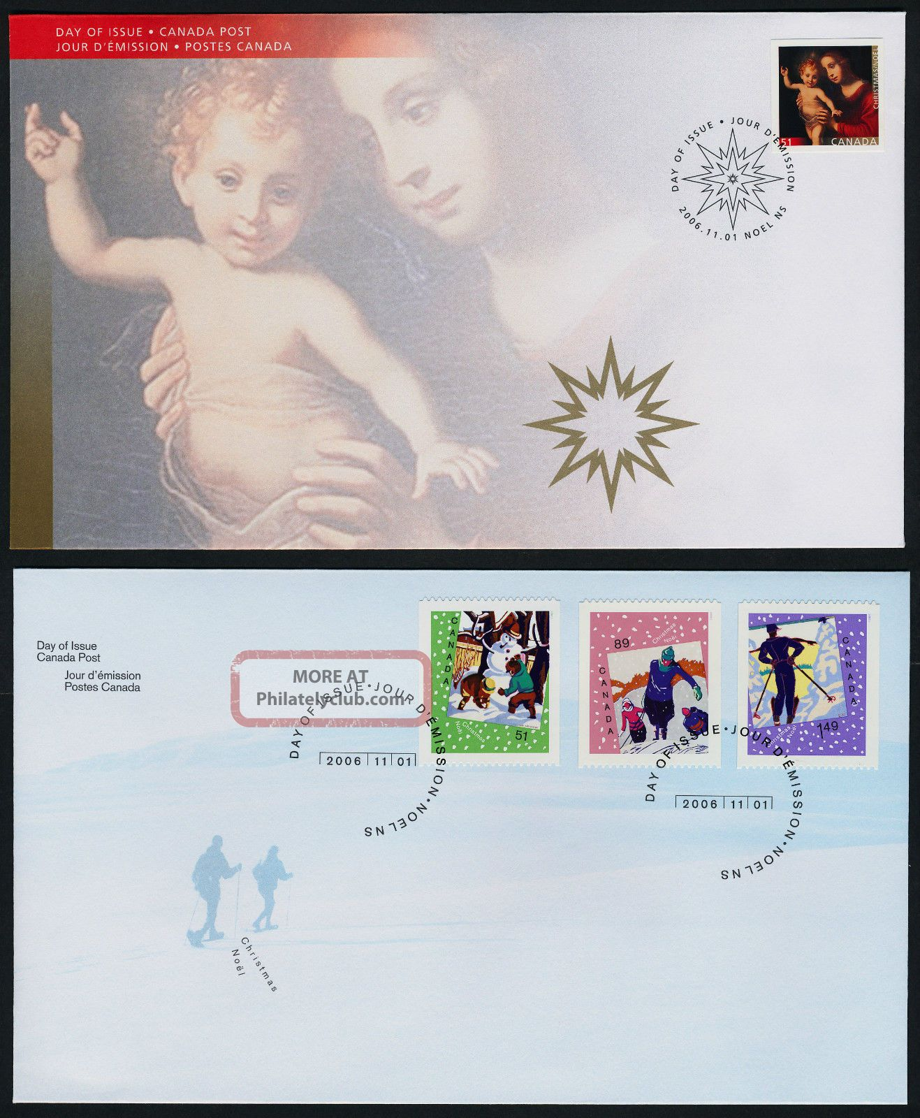 Canada 2183 - 6 Fdc ' S Christmas,  Madonna & Child,  Snowman Canada photo