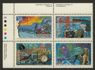 Canada 1236a Tl Plate Block Arctic Explorers,  Flag,  Ship,  Compass photo
