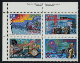 Canada 1236a Tl Block Arctic Explorers,  Flag,  Ship,  Compass photo