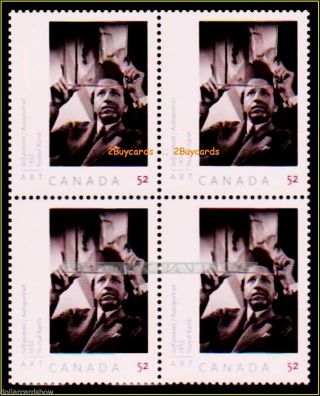 Canada 2008 Canadian Art Portrait Yousef Karsh Face $2.  08 Stamp Block photo