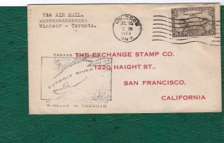 Canada.  Airmail First Flight Windsor - Toronto Commercial Cover To San Francisco. photo