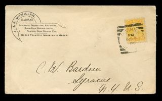 Canada Qv Advertising Envelope 1896 Mcmillan Brunswick. . .  Small Queens 1c photo