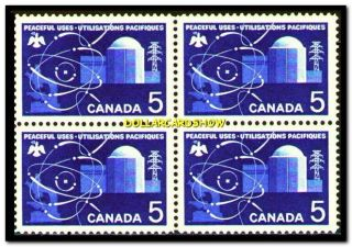 Canada 1966 Peaceful Uses Of Atomic Power Fv Face 20 Cent Stamp Block photo