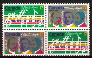 Canada 1980 Sc858a Mi768 - 69 2.  80 Mieu 1 Block Composers Of The