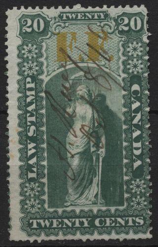 Canada Vandam Ol18 Ont Law Stamp 20c (green Ff Overprint) Of 1864 photo