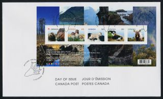 Canada Issue S/s On Fdc Baby Animals,  Puffin,  Mountain Goat,  Wapiti,  Owl photo