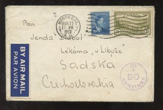 Postage Due Canada 1950 T 90 Centimes Czechoslovakia Airmail photo
