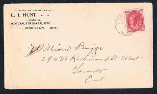 1898 L.  I.  Hunt Dealer In Stoves,  Tinware Etc.  Alvinston Ontario Queen Victoria photo