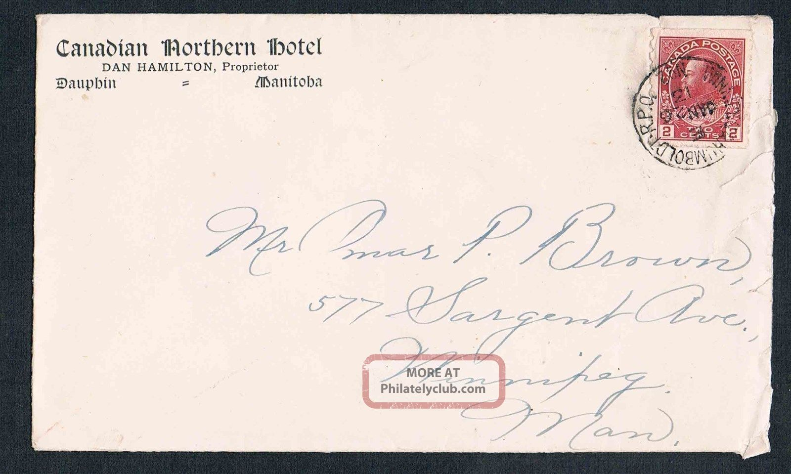 1913 Canadian Northern Hotel Of Dauphin Manitoba Dan Hamilton Prop Cover Canada photo