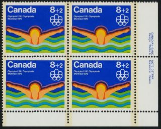 Canada B4i Br Plate Block Olympic Sports,  Swimming photo