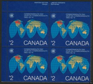 Canada 977 Top Left Plate Block Map,  Globe,  Commonwealth Day photo