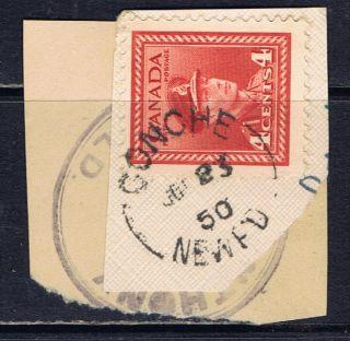 Canada 254 (44) 4 Cent Dark Carmine King George Vi Conche Newfoundland photo