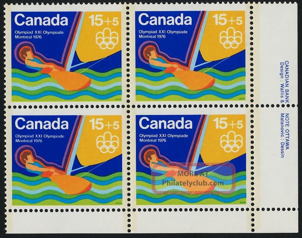 Canada B6i Br Plate Block Olympic Sports,  Sailing Canada photo