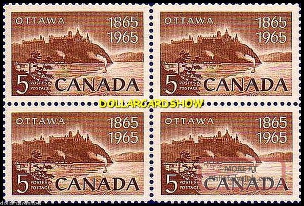 Canada 1965 Canadian Ottawa National Capital Face 20 Cent Stamp Block Canada photo