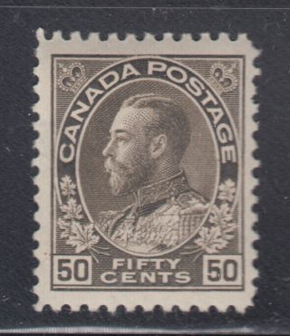 Canada 120 Vf Mh 1925 50¢ Black Brown King George V Admiral Dry Printing Scv $80 photo
