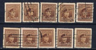 Canada 250 (4) 1942 2 Cent Brown King George Vi 10 photo