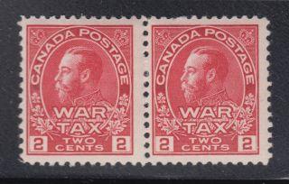 Canada Mr2 Vf Og 2¢ Carmine War Tax Admiral Pair Scv $50 photo