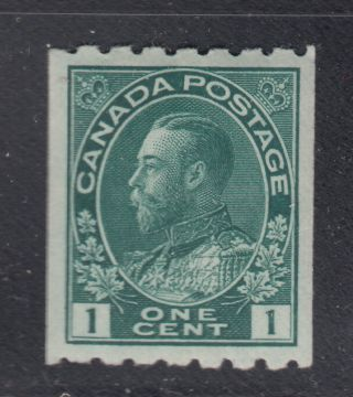 Canada 123 Xf Og 1¢ Dark Green King George V Admiral Coil Perf 8 Horz Scv $100 photo