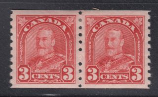 Canada 183 Xf Lh 1931 3¢ Deep Red King George V Arch Issue Coil Pair Scv $36.  00 photo