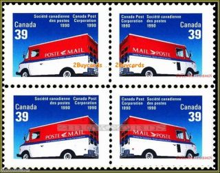 Canada 1990 Canadian Moving Post Mail Face $1.  56 Not Hinged Stamp Block photo