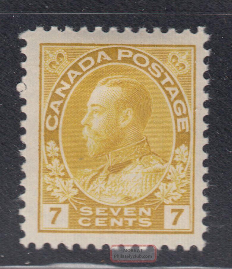 Canada 113 1912 Vf Og Lh 7¢ Yellow Ocher Admiral Stamp Scv $45.  00 Canada photo