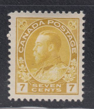 Canada 113 1912 Vf Og Lh 7¢ Yellow Ocher Admiral Stamp Scv $45.  00 photo