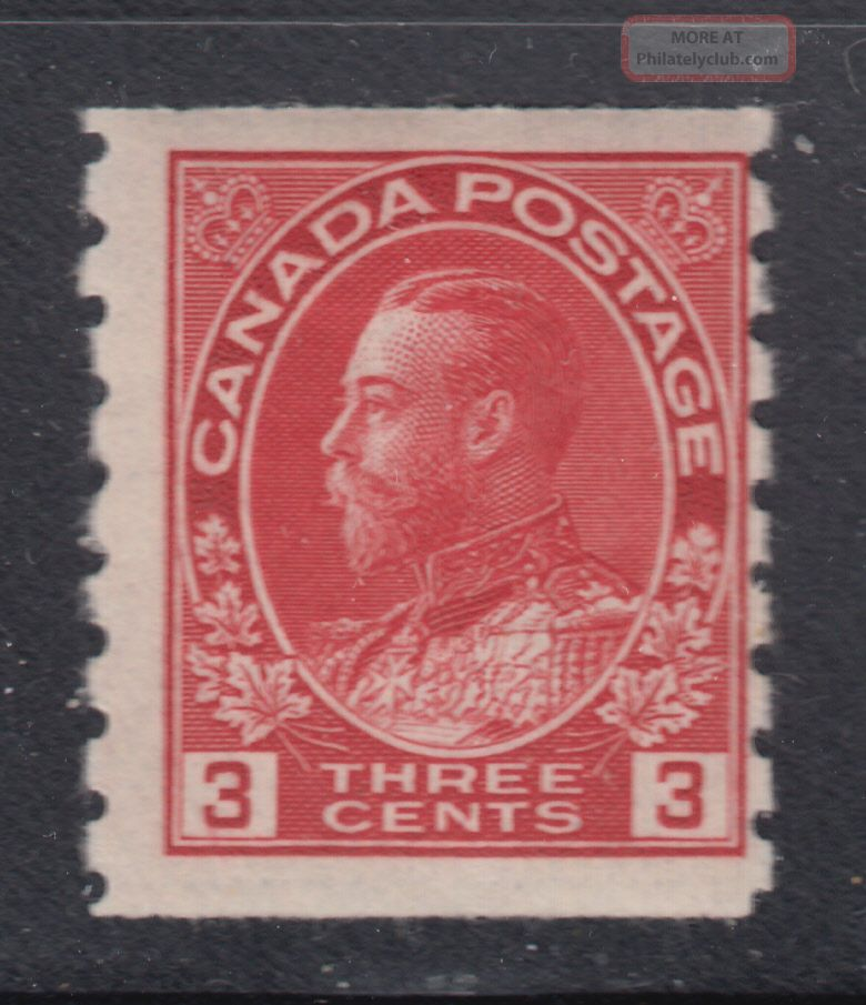 Canada 130 1924 Og 3¢ Carmine Admiral Perf 8 Die I Wet Printing Coil Scv $70.  00 Canada photo