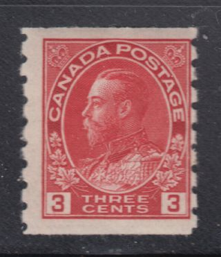 Canada 130 1924 Og 3¢ Carmine Admiral Perf 8 Die I Wet Printing Coil Scv $70.  00 photo