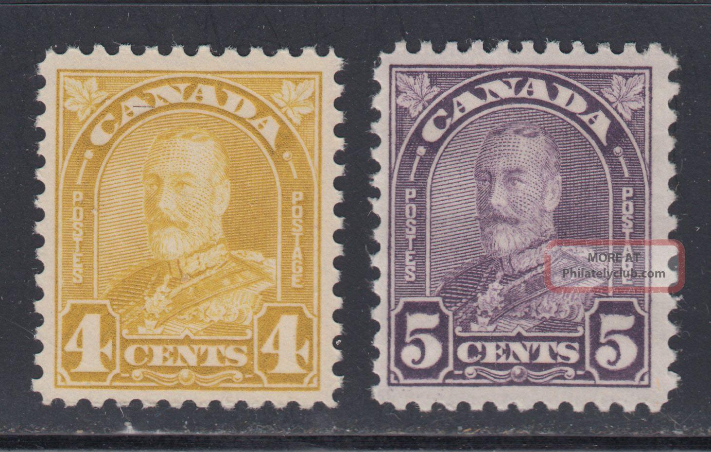 Canada 168 - 69 1930 F - Vf 4¢ & 5¢ King George V Arch Issue Scv $43.  00 Canada photo