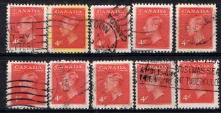 Canada 287 (1) 1949 4 Cent Dark Carmine George Vi 10 photo