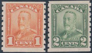 Canada - 160 - 161 - 1929 1c & 2c Scroll Coils photo