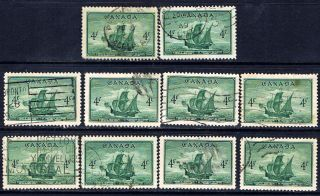 Canada 282 (31) 1949 4 Cent Deep Green Cabot ' S Ship