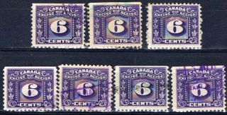 Canada Fx68 (2) 1934 - 48 6 Cent Purple Three Leaf Excise Tax 7 photo