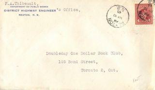 Canada Reston Brunswick 1945 Postmark On Cover photo