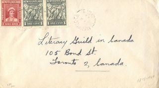 Canada Clarenville Tb Newfoundland 1945 Split Ring Cancel On Cover photo