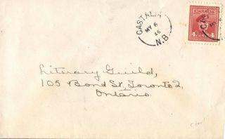 Canada Castalia Brunswick 1946 Split Ring Postmark On Cover photo