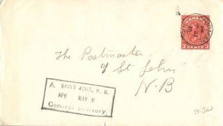 Canada Chipman Brunswick 1936 Postmark On Cover St John General Del Box Pmk photo