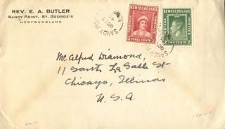 Canada Sandy Point Newfoundland 1945 Split Ring Cancel On Cover To Chicago photo