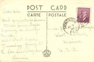 Canada Pei Prince Edward Island Montague Postmark On 1950 Card photo