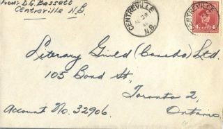 Canada Centreville Brunswick 1946 Postmark On Cover photo