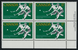 Canada 834 Br Plate Block Field Hockey,  Sports photo