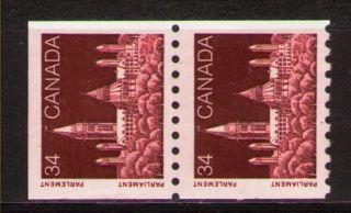 Canada 1985 Sc952 Mi968 1.  80 Mieu 1pair Definitive Issue - Parliament photo