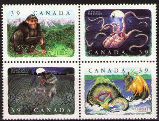 Canada 1990 Sc1292a Mi1197 - 200 6.  00 Mieu 1 Block Legendary Creatures photo