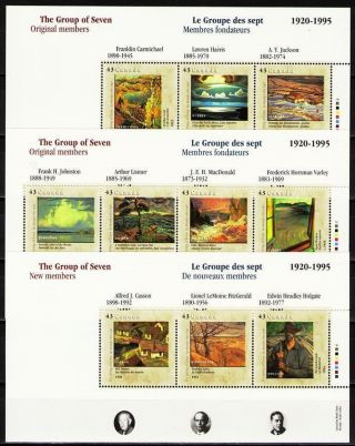 Canada 1995 Sc1559 - 61 Miblk14 - 16 14.  00 Mieu 3ms Group Of Seven - Artists photo