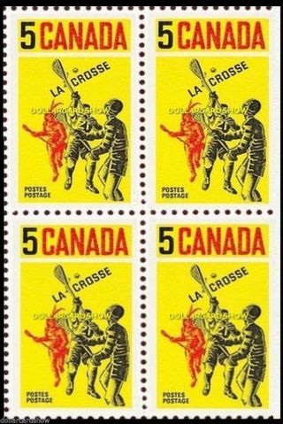 Canada 1968 Canadian La Crosse Yellow Face 20 Cent Right Coil Stamp Block photo